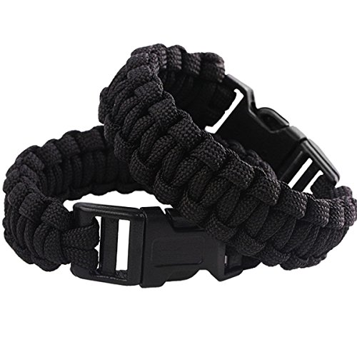 squaregarden Survival Paracord Bracelet Outdoor Wraps Emergency 350 Parachute Bracelet 9inch Pack of 2