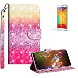 Funyye Strap Flip Cover for Samsung Galaxy S9,Stylish 3D Glitter Sands Design Magnetic Folio Wallet Leather Case with Credit Card Holder Slots PU Leather Cover for Samsung Galaxy S9,Full Body Shockproof KickStand Protective Soft Silicone Case for Samsung Galaxy S9 + 1 x Free Screen Protector