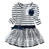 LittleSpring Little Girls' Dress Striped Flower Long Sleeve