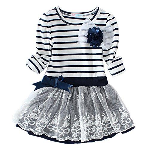 LittleSpring Little Girls' Dress Striped Flower Long Sleeve Size 3T Blue (Toddler Girl Dress Blue)