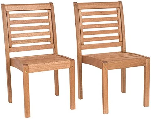 Amazonia Leeds 2-Piece Stackable Side Chair Eucalyptus Wood Ideal for Outdoors and Indoors