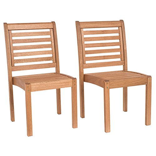 Amazonia Leeds 2-Piece Stackable Side Chair | Eucalyptus Wood | Ideal for...