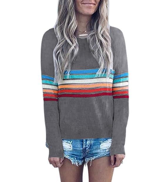 Amazon.com: Camisas de rayas arcoíris para mujer – suéter de ...