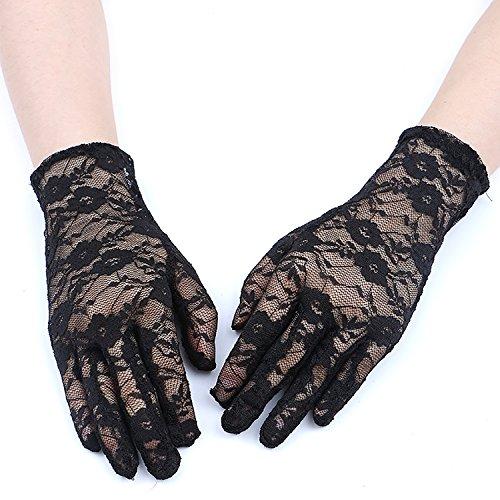 GREATLOVE Women's Summer Elegant Short Lace Elastic Gloves (Black)