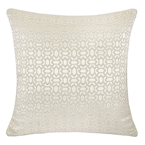 Homey Cozy Faux Silk Ivory Throw Pillow Cover,Ornate Honeycomb High-Precision Jacquard Geometric Large Sofa Couch Cushion Decorative Pillow Case 20 x 20 Inch, Cover Only