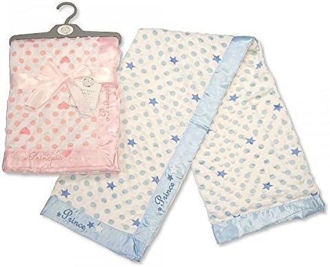 Marca nueva Supersoft Dimple y con borde de raso Snuggle manta para bebé azul príncipe