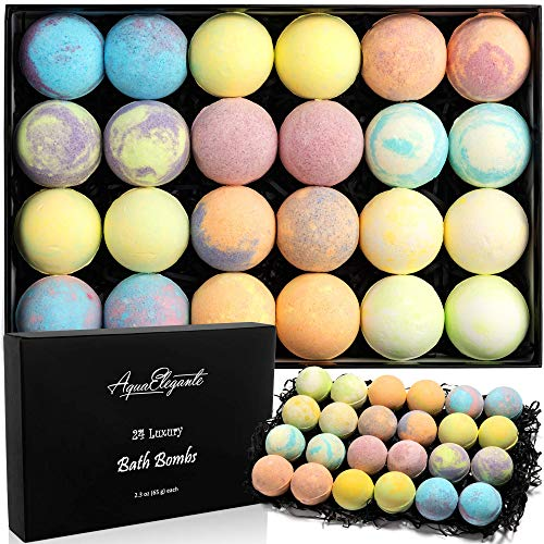 Luxury Bath Bombs For Women - Gift Set of 24 Bathbombs With Organic Essential Oils - Natural Vegan Soap For Moisturizing Fizzy Bubbles, Ocean