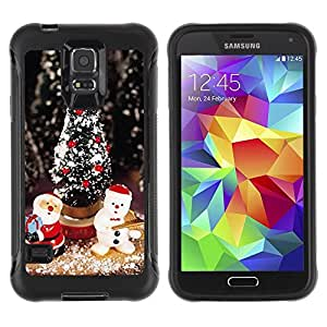 Suave TPU Caso Carcasa de Caucho Funda para Samsung Galaxy S5 SM-G900 / Tree Santa Snowman Winter / STRONG