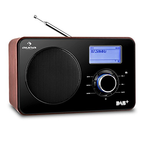 Auna Worldwide Internetradio WLAN Radio mit LCD-Display (DAB / DAB+ / UKW Tuner, Breitbandlautsprecher, Dual-Radiowecker) schwarz-braun