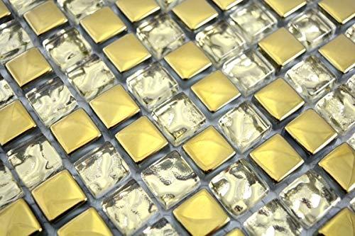 Mosaikfliese Transluzent Glasmosaik Crystal EP Gold Glas BAD WC K/üche WAND MOS92-0707/_m