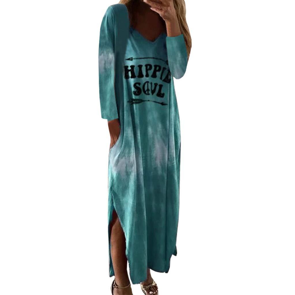 Italily Donne Manica Lunga Vestito Maglietta O Collo Vestito Tasca Lettera Stampata Vestito Diviso Casuale Vestito Lungo Abito Lungo Ragazze Casual Stampato Spiaggia Festa Cerimonia Maxi Vestito