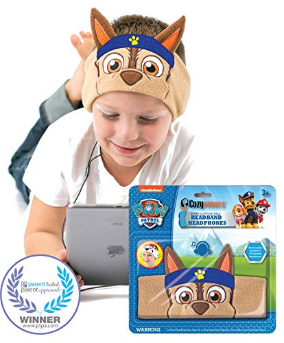 Paw Patrol Kids Headphones by CozyPhones - Volume Limited with Ultra-Thin Speakers & Super Comfortable Soft Headband - Perfect Toddlers & Children's Earphones for School, Home & Travel - Chase