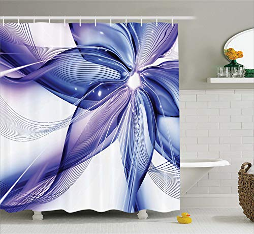 Ambesonne Abstract Decor Shower Curtain, Geometrical Smoke Like Striped Huge Flower Floral Design Artwork, Fabric Bathroom Decor Set with Hooks, 70 Inches, Blue White ()