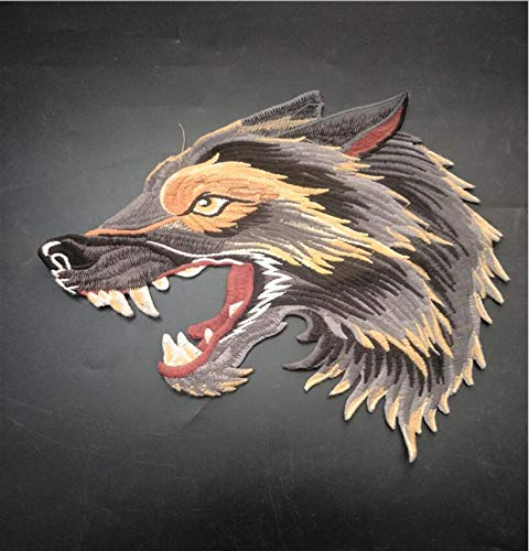 SMALL-CHIPINC - 1Pcs Embroidered Wolf head Patches for Clothing Iron Sewing Applique Clothes Badge Stickers Jeans Jacket Decoration DIY Patches
