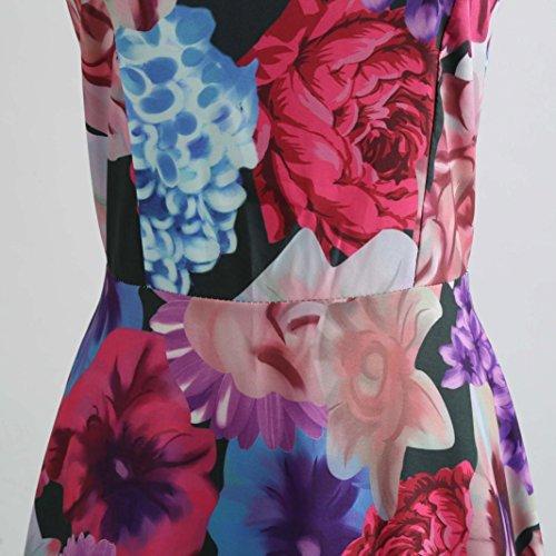 Janly Hepburn Kleid Frau Vintage Druck Figurbetontes Kleid Damen ...