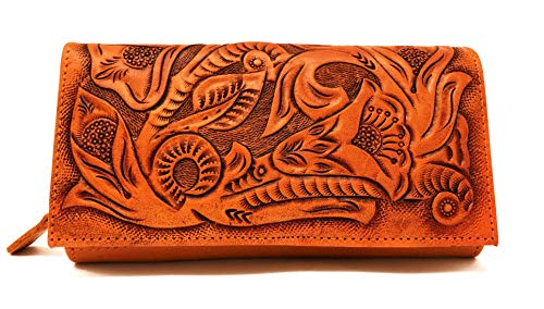 Narita Vintage Floral Artisan Handmade Leather Wallet Designer Gift for Women -