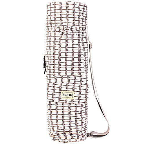 wismi Yoga mat Carrier Bag Patterned Canvas with Pocket and Full-Zip (one Way)