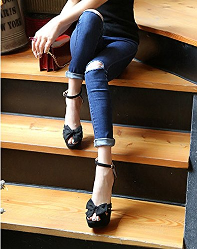 Spring High MDRW Toes Elegant One Table Word 12Cm Lady Bow Women'S Shoes Heels Work Waterproof Black Fine Sexy Sandals Leisure Shoes Heels 37 Buckle n44IrqF