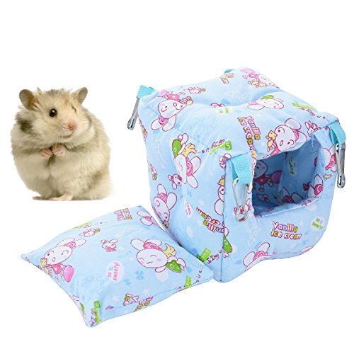Hamster Bed Small Animal Cage Supplies Hammock House Hideout Pet Tent (Blue, Square Nest)