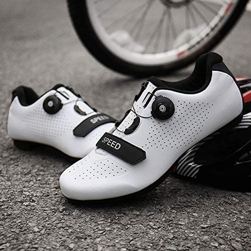 Caucho,White-36EU KUXUAN Zapatillas Ciclismo Hombre Mujer,Carretera Monta/ña MTB Bicicleta Zapatillas Antideslizantes Transpirables,Suela
