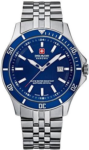 Swiss Military Hanowa 06-5161.7.04.003 - Reloj analógico de Cuarzo para Hombre, Correa de Acero Inoxidable Color Plateado