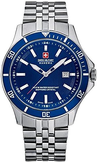 Swiss military hanowa flagship orologio da polso, uomo, acciaio inox, argento 6-5161.7.04.003