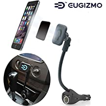 Car Magnetic Mount, Magnetic Car Phone Hodler Stand Cradles with Dual USB Car Charger Cigarette Lighter Mount for iPhone 8 7 6 5 Samsung Galaxy Sony Moto LG etc Smartphone GPS PDA MP4