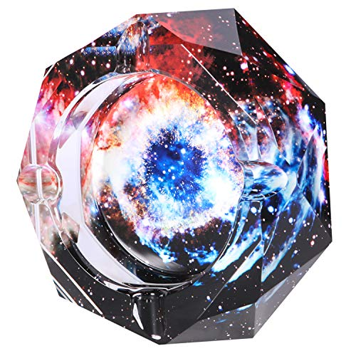 Kaforise Crystal Cigarette Ashtray Ash Holder Case,The Starry Sky Pattern Home Office Tabletop Beautiful Decoration Craft
