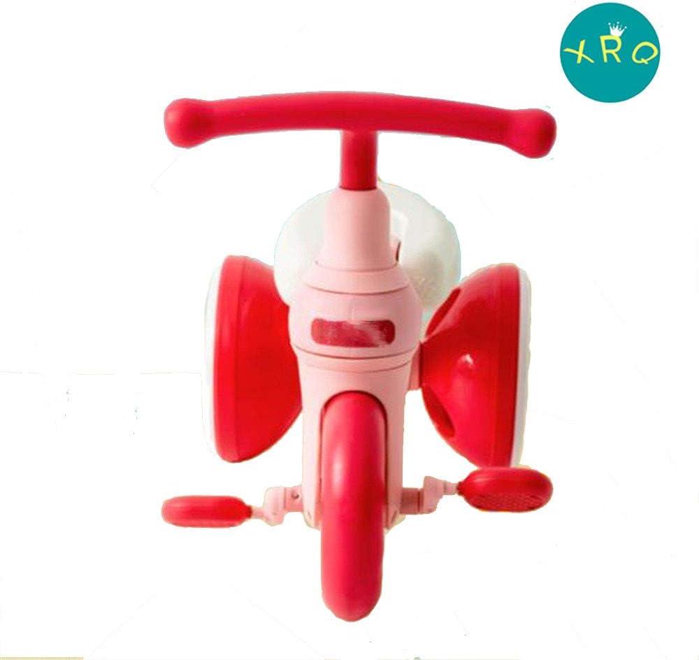 XRQ Triciclo 2 En 1 para Niños, Andador, Bicicleta Fácil De Transportar Y Liviana, Los Pedales Se Pueden Quitar,Rojo