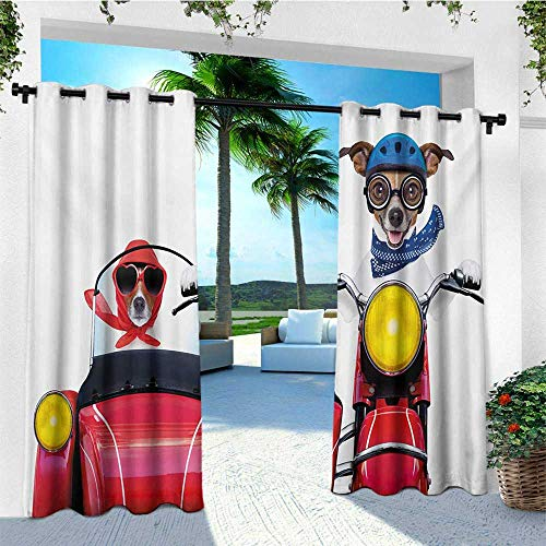 (leinuoyi Dog Driver, Outdoor Curtain Ties, Jack Russell Terriers on a Vintage Motorbike with Helmet and Scarf Funny Design, Fabric W108 x L96 Inch Multicolor)