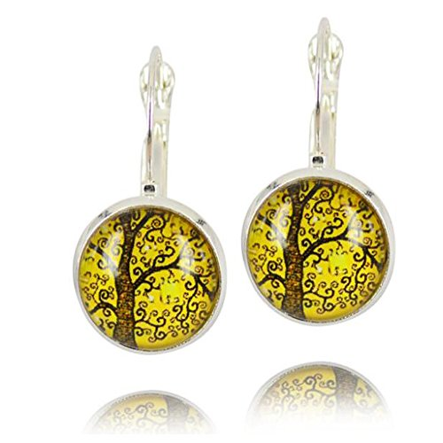 Darkey Wang Woman Fashion Retro Temperament Tenacious of Life Tree gem Earrings(2#) (Cute Halloween Fundraising Idea)