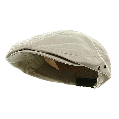 4bf3b89e4fa19 MG Men s Plaid Ivy Washed Canvas Newsboy Cap Hat (Stone Brown)   Amazon.co.uk  Clothing