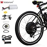 """9. Voilamart 26"""" Rear Wheel Electric Bicycle Conversion Kit, 48V 1500W E-Bike Powerful Hub Motor Kit with Intelligent Controller and PAS System, Restricted to 750W for Road Bike"""