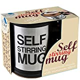Self Stirring Coffee Mug Cup - Funny Electric Stainless Steel Automatic Self Mixing & Spinning Home Office Travel Mixer Cup Best Cute Christmas Birthday Gift Idea for Men Women Kids 8 oz by Chuzy Chef