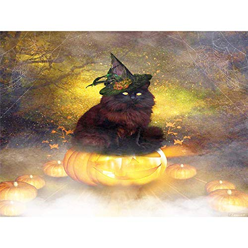 DIY 5D Diamond Painting by Number Kits, Crystal Rhinestone Diamond Embroidery Paintings Pictures Arts Craft for Home Wall Decor,Halloween Pumpkin and Kitty 24x32 Inch ()