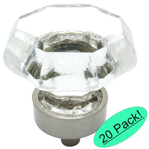 Leaded Glass Cabinets - Cosmas 5268SN-C Satin Nickel Cabinet Hardware Knob with Clear Glass - 1-5/16