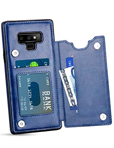 HianDier Wallet Case for Galaxy Note 9, Slim Protective Case with Credit Card Slot Holder Flip Folio Soft PU Leather Magnetic Closure Cover Case Compatible with Samsung Galaxy Note 9, Blue
