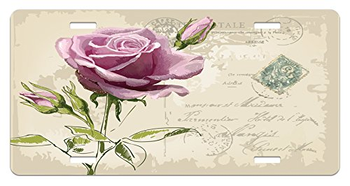 Blossoms Postcard (Rose License Plate by Ambesonne, Vintage Postcard Design with Delicate Rose Blossom Hand Drawing Artsy Print, High Gloss Aluminum Novelty Plate, 5.88 L X 11.88 W Inches, Tan Pale Pink Green)