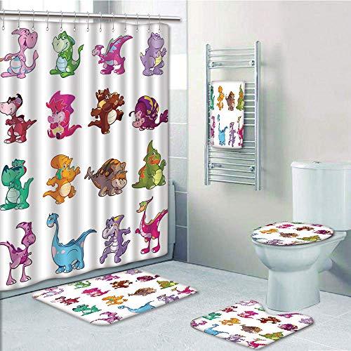 Pooh Winnie The Carpet (Bathroom Fashion 5 Piece Set shower curtain 3d print,Jurassic Decor,Collection of Cute Dinos Dinosaurs Extinction Funny Comic Child Illustration,,Bath Mat,Bathroom Carpet Rug,Non-Slip,Bath Towls)