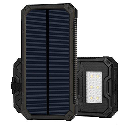 15ooo mAh Solar Power Bank, Solar Ladegerät mit Dual USB Schnittstelle, Externe Akku für iPhone, Android-Handys, andere Smartphones sowie elektronische Geräte und auch iPad oder andere Tablet PC (schwarz)