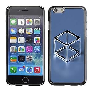 Caucho caso de Shell duro de la cubierta de accesorios de protección BY RAYDREAMMM - Apple iPhone 6 - Chrome Cube