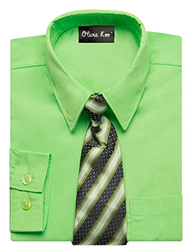 - OLIVIA KOO Boys Kids Long Sleeve Solid Color Dress Shirts With Matching Windsor Tie Set Lime 10