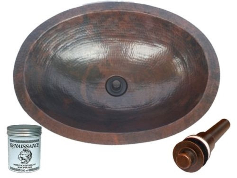 SimplyCopper 19 Oval Copper Undermount Bathroom Sink with Drain and Renaissance Wax