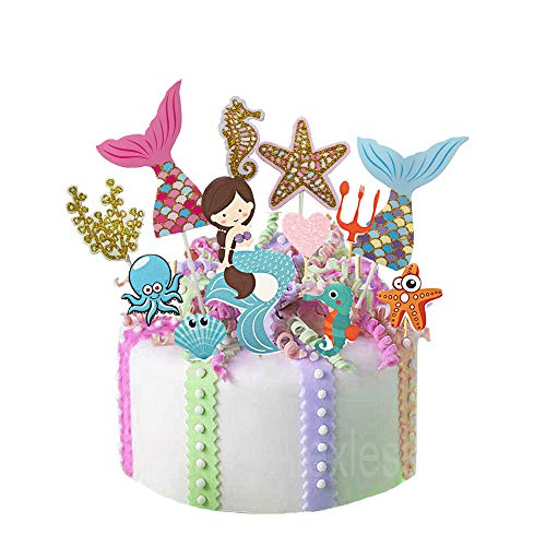 Mermaid Theme Fairytale Cake Cupcake Toppers Mermaid Tail Starfish Seahorse Picks Party Supplies for Baby Shower Kids Birthday Under the Sea Themed Party Decorations Kit,12Pcs