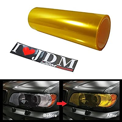iJDMTOY 12 by 48 inches Self Adhesive JDM Golden Yellow Headlights or Fog Lights Tint Vinyl Film: Automotive