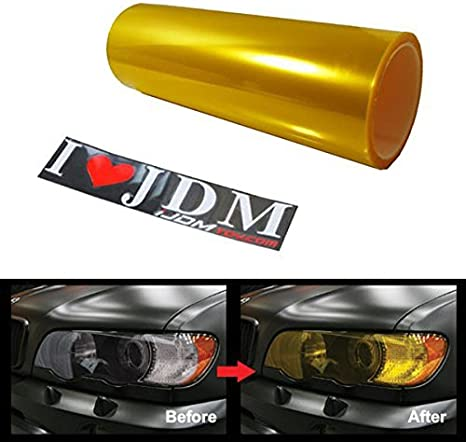 "2x Yellow Vinyl Film Smoke Tint Headlight Taillight Fog Light 12/""x24/"" In 1x2 FT"