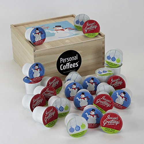 SEASON'S GREETINGS Single Serve Coffee Variety Cups - 24 Cups In A Keepsake Wooden Gift Box