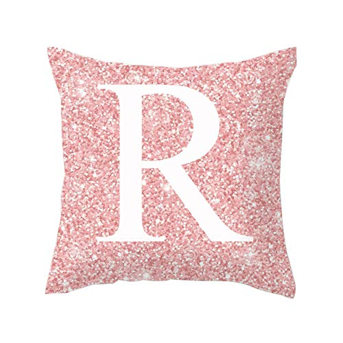 HsgbvictS English Letter Alphabet Pink Throw Pillow Cover, Cushion Case Sofa Bed Car Decoration R