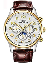 Mens Swiss Technology Automatic BrownLeather Watches with Sapphire Mirror Moon Phase Calendar 24 Hours