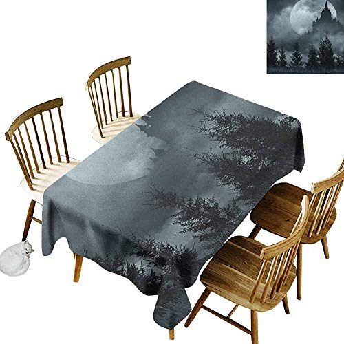 DONEECKL Halloween Oil-Proof Tablecloth Seamless Design Magic Castle Silhouette Over Full Moon Night Fantasy Landscape Scary Forest Grey Pale Grey W70 xL120]()